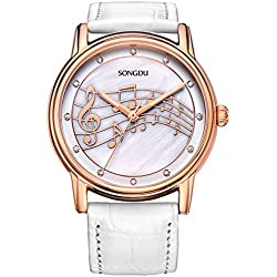 Women Dress Rose Gold Watches with Mother Pearl Dial Music Note White Leather Strap SONGDU