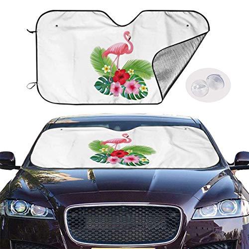 JKOVE Parasol Protector Solar para la Parabrisa Delantera del Coche Animal Flamingo Pink Bird Auto Shield Cover Sun Shade for Windshield UV Sun and Heat Reflector