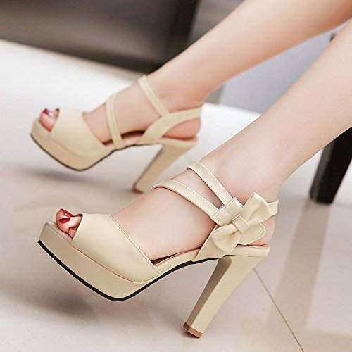 Lgk & fa estate sandali sandali da donna estate 10cm tacco tacchi pesce bocca scarpe Beige