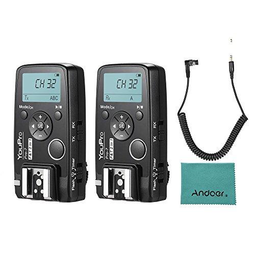 YouPro Pro-7 Wireless Shutter Timer Fernbedienung und Flash Trigger 2in1 mit DC0 2,5mm PC Sync & Shutter Kabel für Nikon D810 D800 D700 D500 D5 D4 D300 D300S D3 D3s Kamera