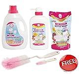 Farlin Anti-Bacterial Baby Liquid Laundry Detergent (2000ml) With Anti-Bacterial Baby Liquid Cleanser (700ml Refill & 700ml Bottle) Combo Pack