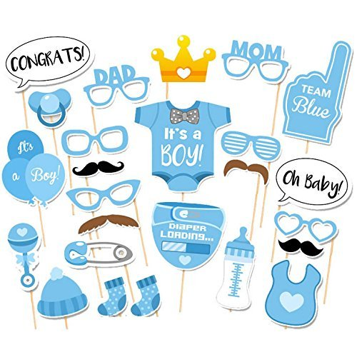 Babyparty Fotorequisiten Junge - Baby Shower Fotoaccessoires, Blau Masken, Neugeborene Foto Stützen, Photo Booth Props fur Baby Party. Babydusche Photobooth Stützen (Rosette Kleid Pullover)