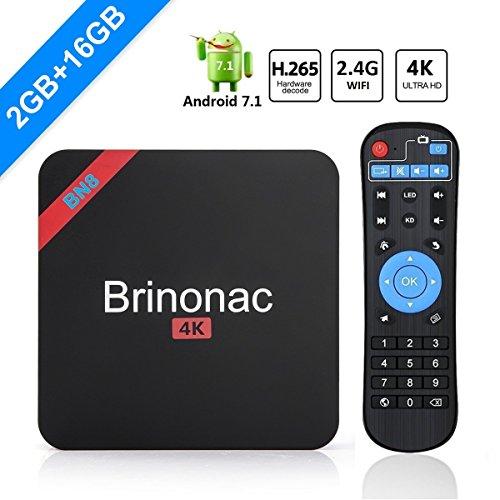 GULEEK BN8 4K HD Smart Android 7.1 TV Box con Amlogic S905W Quad Core 2.4G Wifi 3D H.265 (2 GB +16 GB)