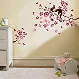 Walplus Monkey and Blossom Tree Office Home Decoration Wall Stickers