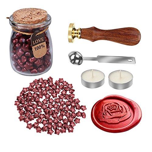 mylifeunit Rose Wachs Siegel Stempel Kit für Hochzeit, Hüllen Retro Versiegelung mit Wachs Set 110 mm*200 mm*90 mm rot