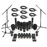 7-teiliges Mikrofon-Komplettset für Schlagzeug inklusive Ständer und Kabeln