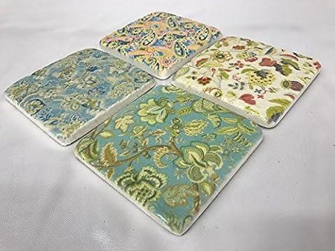 S/4 Edwardian Vintage Antique Ceramic Drinks Table Mats Tile Coasters