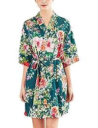 YAOMEI Mujer Vestido Kimono Satén, Camisón para Mujer, Sedoso Grua & Flores Robe Albornoz