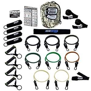 Bodylastics Kit de musculation avec 21 bandes de résistance 118 kg + 8 tubes élastiques de résistance
