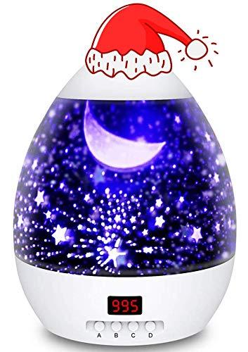 Lamp de Projection Enfant Veilleuse Bébé Etoile Lampe de Chevet d'Ambiance 360° Rotation Romantique avec LED Minuterie Auto Shut-Off pour Cadeau Fille Fils Anniversaire Soirée Noël Ambiance Créatif