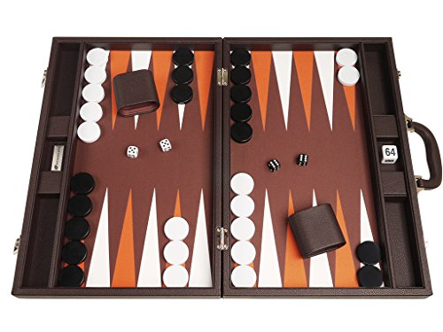 48 x 64 cm Premium Backgammon Set - Dunkelbraun