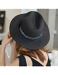 5f4c70952ffc0 Sombrero de Paja de Playa para Mujer en Panamá Sol en el mar Paja de ala  Ancha para Verano UPF50 + Visera para…