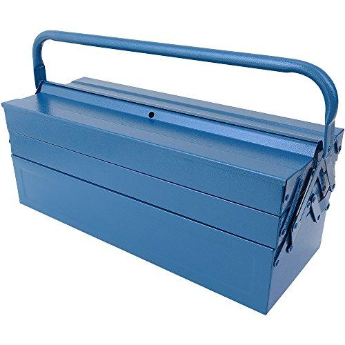 Werkzeugkoffer leer groß ✔ Stahl ✔ 5-teilig ✔ Deuba® - Werkzeugkasten Werkzeugbox Werkzeugkiste Werkzeug Montage Koffer - blau - 580x220x210mm - 5
