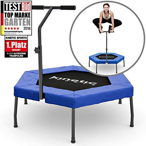 Kinetic Sports Fitness Trampolin Indoor Ø 110 cm, Hexagon, höhenverstellbarer Haltegriff, Gummiseilfederung, Randabdeckung BLAU, belastbar bis 120 kg