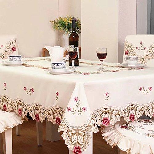 Shinemoon Home Textiles elegante ricamato rosa fiori tavolo da cucina Covers panno beige quadrato/rettangolare patio tovaglie, Poliestere, Beige/Pink, Rectanglular 140*200cm
