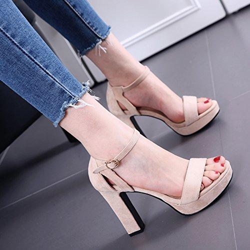 Mode All-Match Toe Sandalen weiblichen rauen wasserdichten Word Gürtelschnalle Schuhe Beige