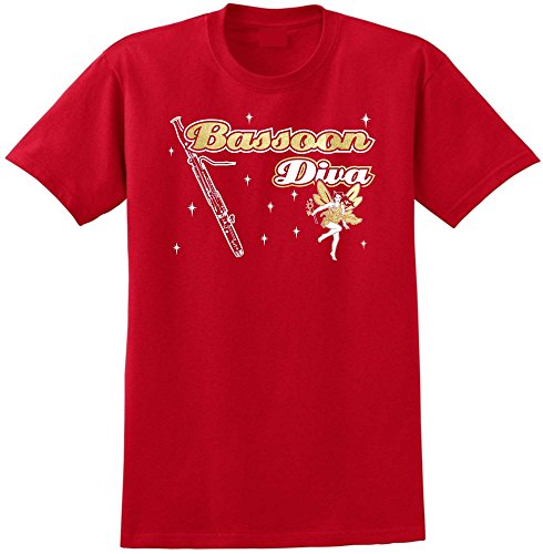 MusicaliTee Bassoon Diva Fairee - Red Rot T Shirt Größe 87cm 36in Small