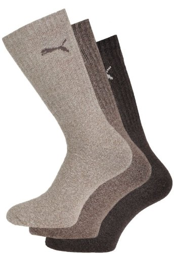Puma Unisex Sport Socken 3er Pack, Braun (Dark Brown), 43-46