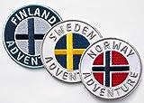 3er-Set Skandinavien Abzeichen gestickt 60 mm / Schweden Finnland Norwegen / Abenteuer Trekking Wandern Flagge Wappen Kreuz / Aufnäher Aufbügler Sticker Patch / Reiseführer Wanderführer Buch Karte
