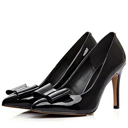 WSS chaussures à talon haut Arc de stiletto haut talon Ladies fait cuir pâle Joker chaussures chaussures femme Black