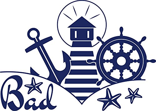 GRAZDesign Badezimmer Dekoration Wandtattoo Tür Aufkleber Bad - Deko Bad Maritim - Wandtattoo Leuchtturm Steuerrad Anker / 42x30cm / 650243_30_049