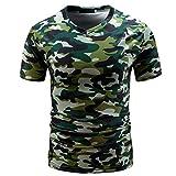 VEMOW Sommer Sport Vatertag Geschenk Männer Casual Camouflage Print V-Ausschnitt Pullover Kurz T-Shirt Top Bluse T-stücke Pulli(Grün, EU-54/CN-L)