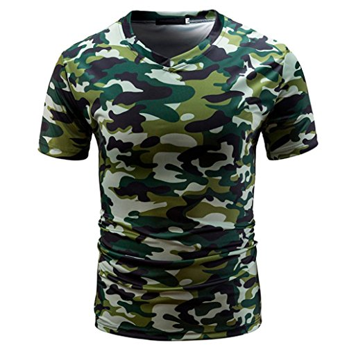 VEMOW Sommer Sport Männer Casual Camouflage Print V-Ausschnitt Pullover Kurz T-Shirt Top Bluse T-stücke Pulli(Grün, EU-52/CN-M)