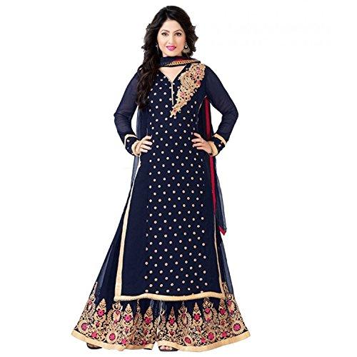 Janasya Women's Georgette Dress Material (HS-DR-004.A_Blue)
