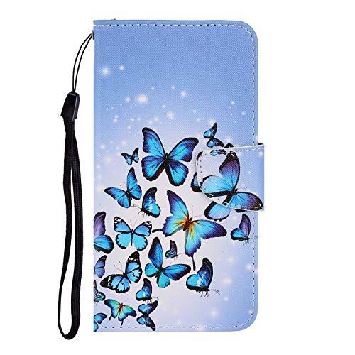Nadoli Galaxy A20/30 Hülle,Blau Schmetterling Muster PU Leder Magnetisch Flip Brieftasche mit Handschlaufe Kartenslot Ständer Klapphülle für Samsung Galaxy A20/30