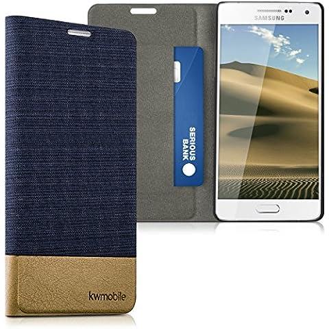 kwmobile Funda Flip Case para Samsung Galaxy A5 (2015) - Funda protectora Bookstyle de polipiel y tela en azul oscuro