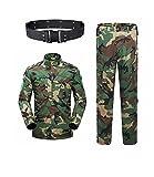 haoYK Militare Camo Tuta Tattica Uomo Caccia Combattimento BDU Giacca Uniforme Camicia e Pantaloni con Cintura per Tiro Caccia Gioco di Guerra Army Airsoft Paintball (WL, S)