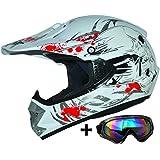 ATO Moto Kids Pro Niños Casco en color blanco Incluye MX motocicleta gafas