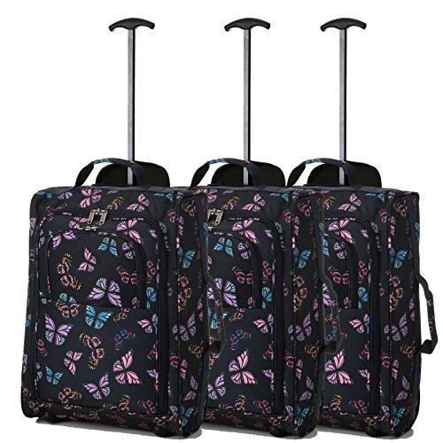 Lot de 3 Super léger de voyage bagages Cabine Valise Wheely Sacs Sac à Roulettes (Papillons Noir)