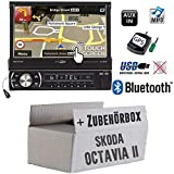 Skoda Octavia 2 1Z 2-DIN Nexus Columbus etc. - Autoradio Radio Caliber RMN575BT - Navigation | Bluetooth | MP3 | USB | SD | 7' TFT - Einbauzubehör - Einbauset