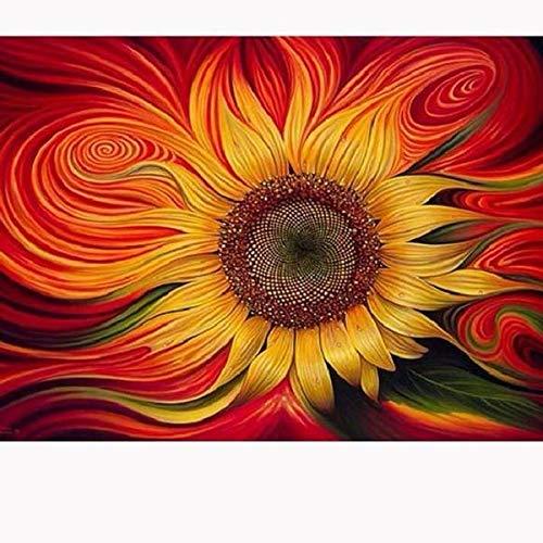 5D Künstlermal-Set - DIY Kreuzstich-Set (Größe: 40 x 50 cm) tolle Designs, Diamant-Stickerei-Set für Kunst und Handwerk, Wohnzimmer, Wanddekoration, Heimdekoration Sunflower Swirls Set Sunflower-design