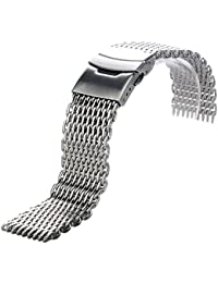 YISUYA Silver 22mm Band Stainless Steel Mesh Web Wrist Watch Band Strap Bracelet Mens Womens