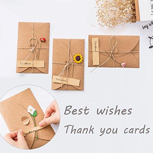Dankeskarten, 8 Stück Grußkarten, handgefertigt, Retro-Kraftpapier mit 8 handgefertigten Blumen und Aufklebern für Kinder, Notizen, Hochzeiten, Unternehmen, Büro, Lehrer, Braut- und Baby-Partys.