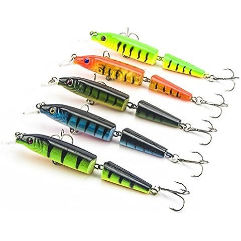 Pesca swimbait 5pcs / lot 10.5cm 4.13 '' Fishing 3D Ojos Láser línea dura Minnow cebos de vida como señuelos bajos Crankbait de los trastos de los lucios / Bajo / trucha / lucioperca / de los salmones / siluro / mero /