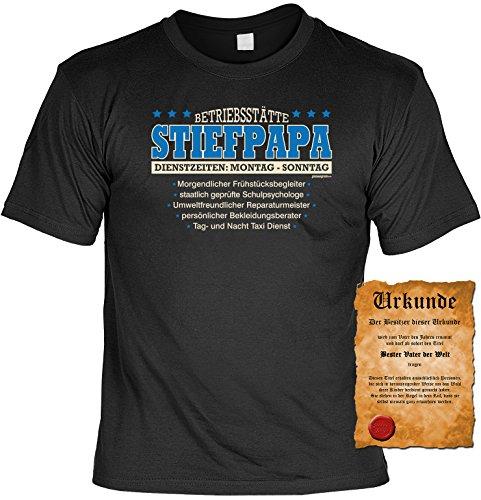 Spaß/Fun-Shirt + gratis Fun-Urkunde mit Aufdruck für Väter: Betriebsstätte Stiefpapa - lustiges Geschenk Schwarz
