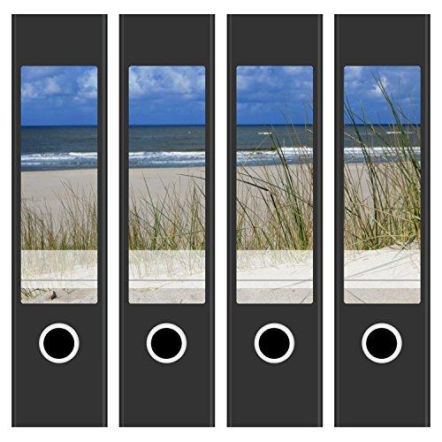 4 Akten-Ordner Etiketten/Aufkleber/Rücken Sticker/mit Design Foto Motiv Strandgras/für breite Ordner/selbstklebend / 6cm breit