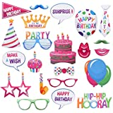 OULII Birthday Photo Booth Props Birthday Party Supplies with Hats, Glasses, Mustaches, Lips, Ties and More for Celebrating Birthday