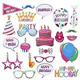 BESTOYARD 22 Stücke Happy Birthday Photo Booth Props Lustige Kreative Geburtstag Decor für Feiern Geburtstag Party Favors