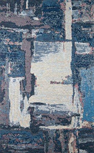 Eko SMART Modernes Design Zeitgenössische Acryl Chenille, Baumwolle und Polyester Bereich Teppich, Perfekt Für Wohnzimmer, Esszimmer, Schlafzimmer SM01 Grau Blau XW, 80*150 -