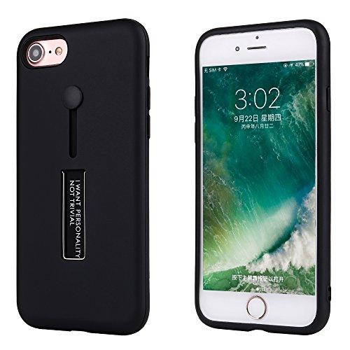 Liamoo Apple iPhone 8 Hülle Selfie Schutzhülle für den Finger/Standfunktion / sehr Robust/Case / Bumper / 2017 in schwarz