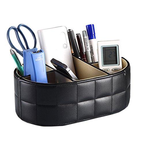 iSuperb® Ecopelle da scrivania in legno di cancelleria telecomandi Storage Box Case Holder 8.85x3.34x5.9inch (Ovale)