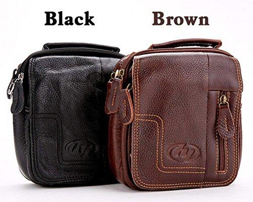 Zeagoo ledertasche herren umhängetasche herren Tasche klein schwarz,braun Braun