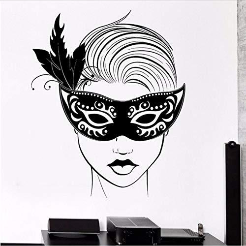 smydp Wandtattoo Karneval Maske Maskerade Sexy Hot Girl Sexy Vinyl Aufkleber 55x71cm