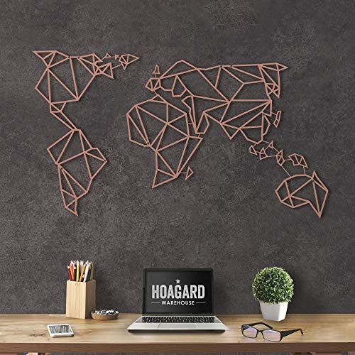 Hoagard Metal World Map Bronze - Hoagard Weltkarte aus Metall Bronze   60cm x 100cm   Geometrische Metallwandkunst, Wanddekoration