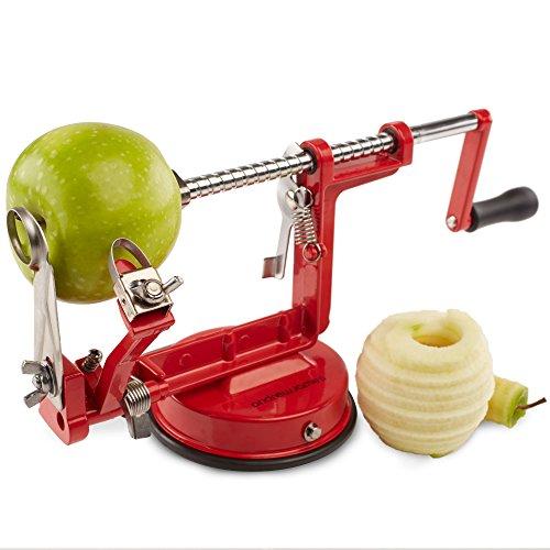 Andrew James Pele pomme, Eplucheur de pomme, Coupe legumes, Epluche Pomme, Mandoline Accessoires Cuisine 3 en 1 | Poires Pommes de Terre Pomme | Pour Fruit et Légumes | Support à Ventouse