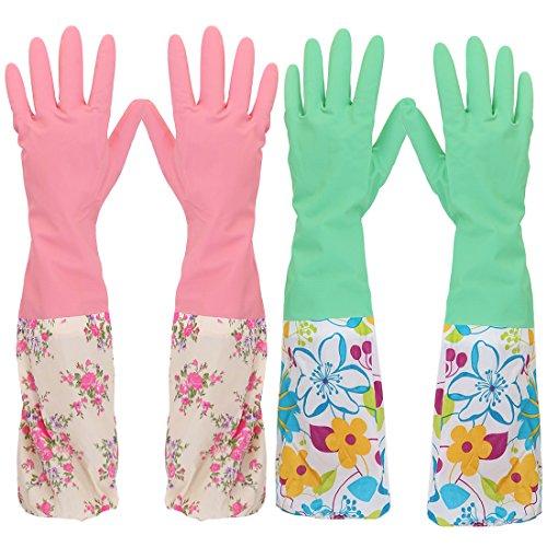 kilofly 2Paar langer Stulpe 2158Gartenschlauch Abwaschen Reinigung Haushalt Latex Handschuhe -